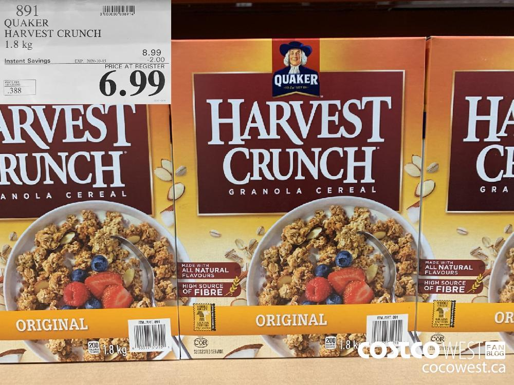 891 QUAKER HARVEST CRUNCH 1.8 kg EXP. 2020-10-15 6.99