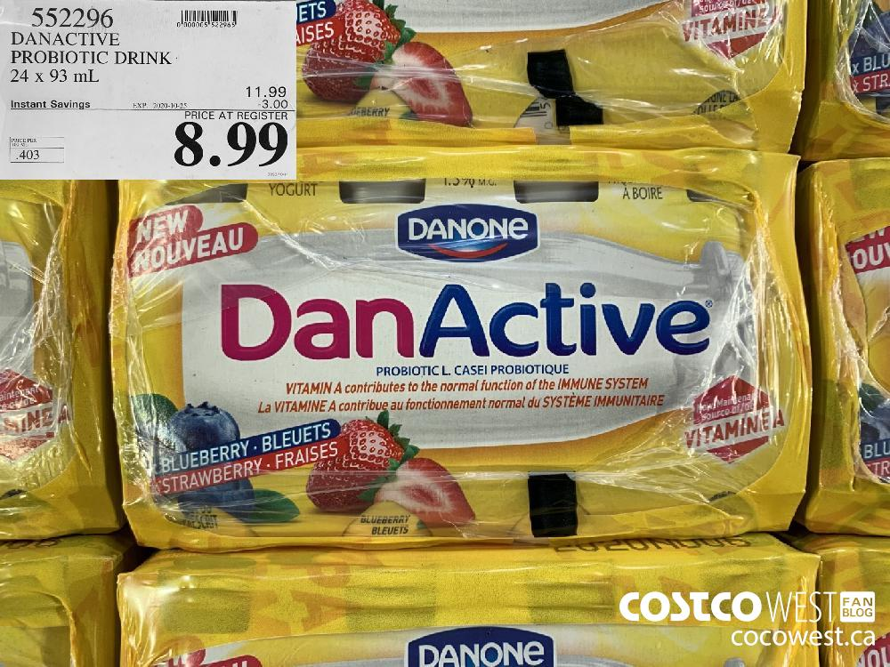552296 DANACTIVE PROBIOTIC DRINK 24 x 93 mL EXP. 2020-10-25 8.99