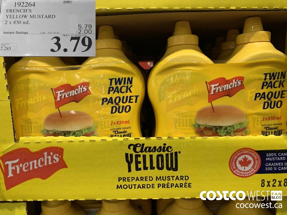 192264 FRENCH'S YELLOW MUSTARD 2 x 830 mL EXP. 2020-10-25 3.79