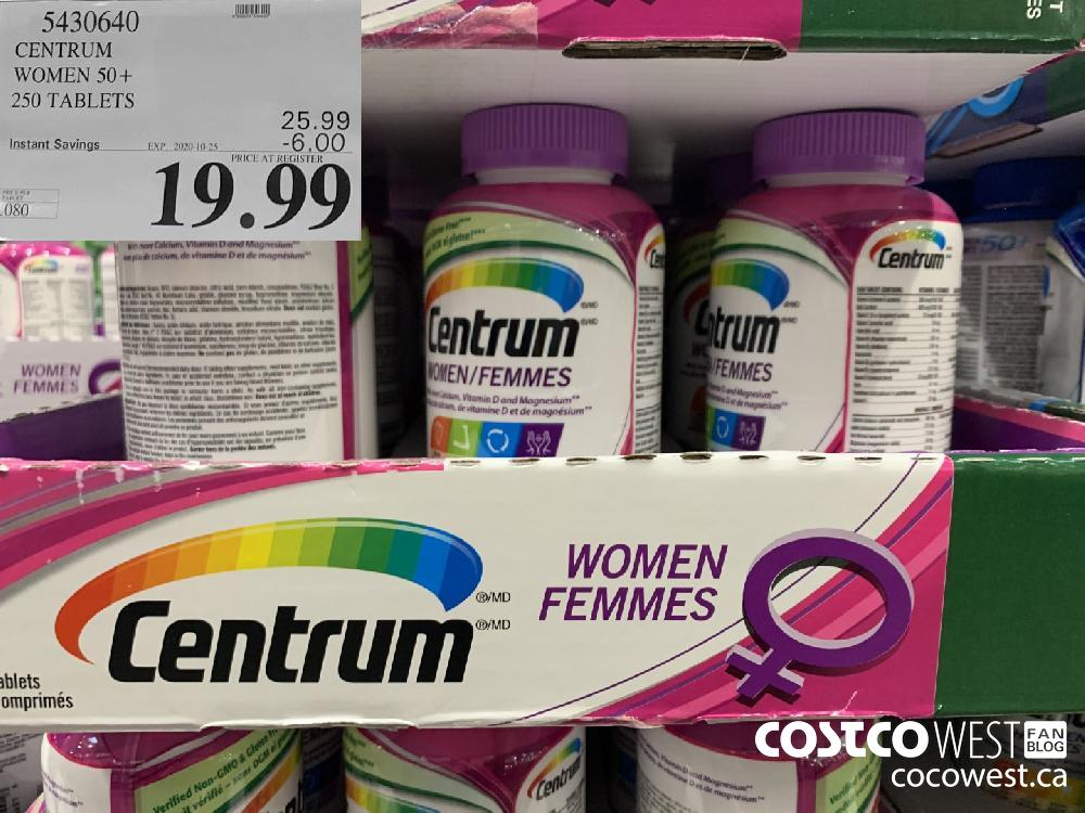 5430640 CENTRUM WOMEN 50 250 TABLETS EXP. 2020-10-25 19.99