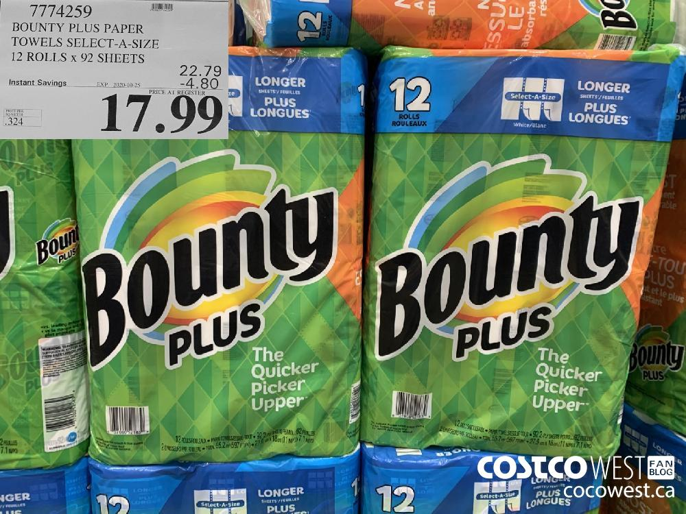 7774259 BOUNTY PLUS PAPER TOWELS SELECT-A-SIZE 12 ROLLS x 92 SHEETS EXP. 2020-10-25 17.99
