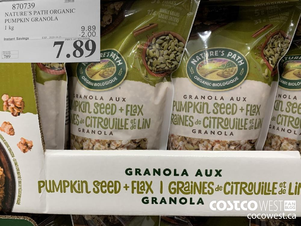 870739 NATURE'S PATH ORGANIC PUMPKIN GRANOLA 1 kg EXP. 2020-10-25 7.89