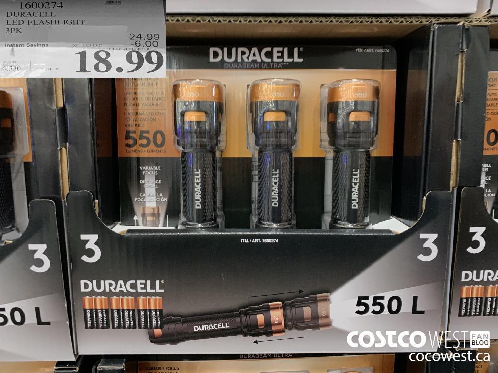 1600274 DURACELL LED FLASHLIGHT 3PK EXP. 2020-10-25 18.99