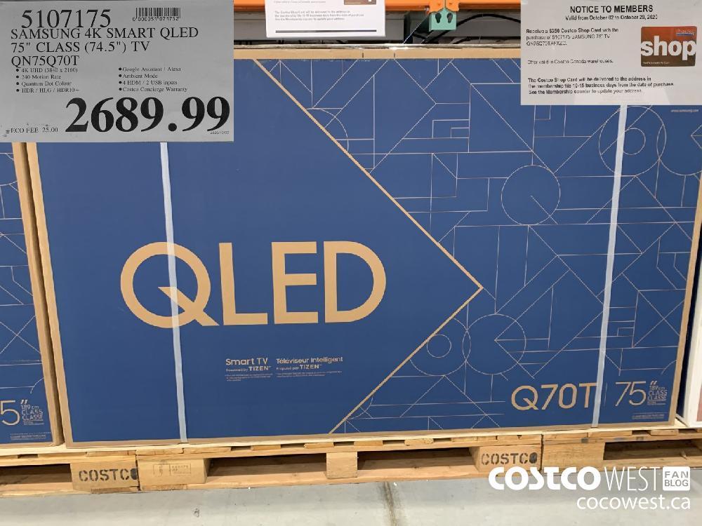 "5107175 SAMSUNG 4K SMART QLED 75"" CLASS (74.5"") TV QN75Q70T 2689.99"