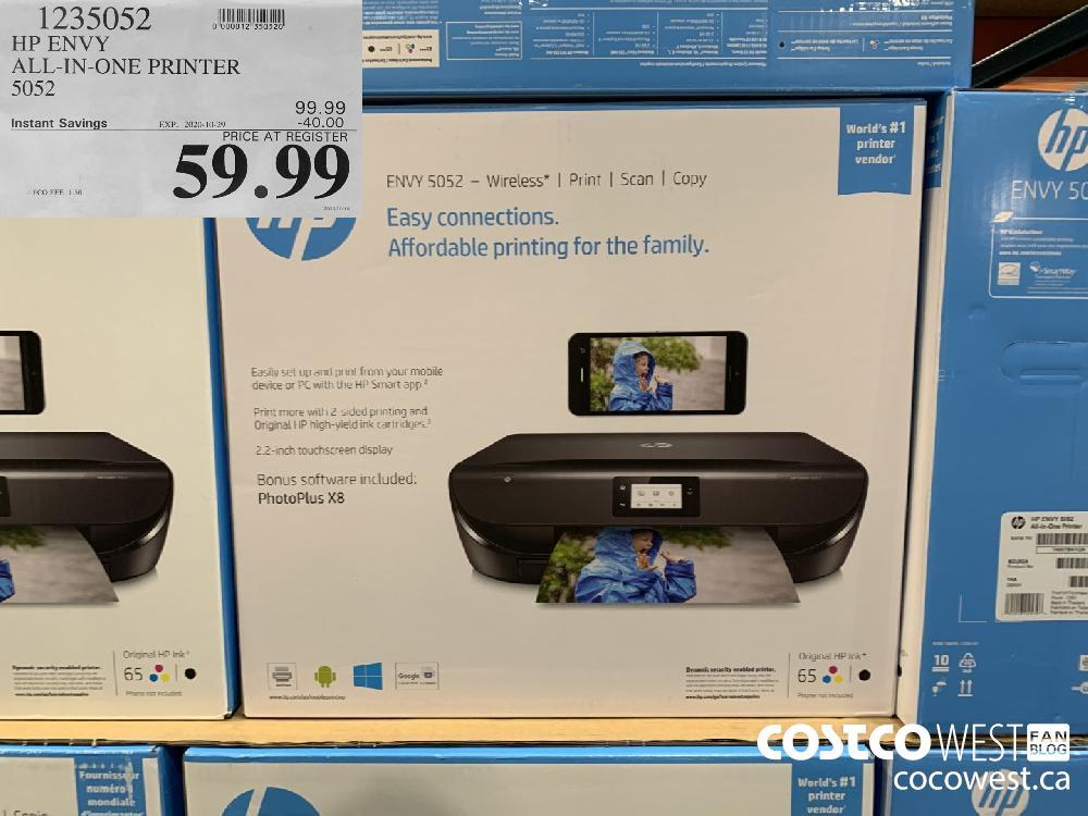 1235052 HP ENVY ALL-IN-ONE PRINTER 5052 EXP. 2020-10-29 59.99