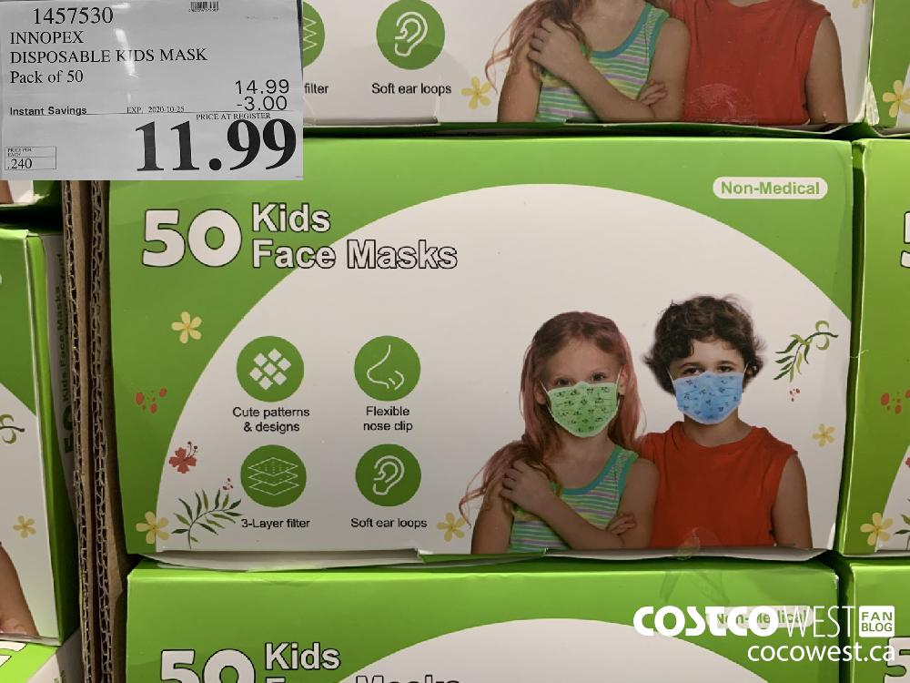1457530 INNOPEX DISPOSABLE KIDS MASK Pack of 50 EXP. 2020-10-25 11.99