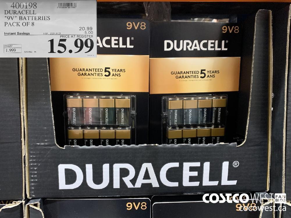 "400198 DURACELL ""9V"" BATTERIES PACK OF 8 EXP. 2020-10-25 15.99"
