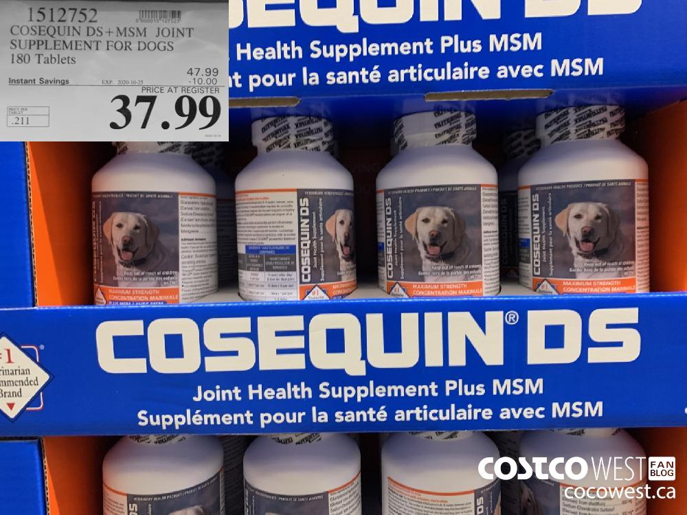 1512752 COSEQUIN DS MSM JOINT SUPPLEMENT FOR DOGS 180 Tablets EXP. 2020-10-25 37.99