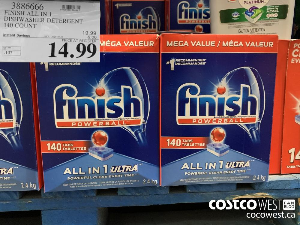 3886666 FINISH ALL IN 1 DISHWASHER DETERGENT 140 COUNT EXP. 2020-10-25 14.99