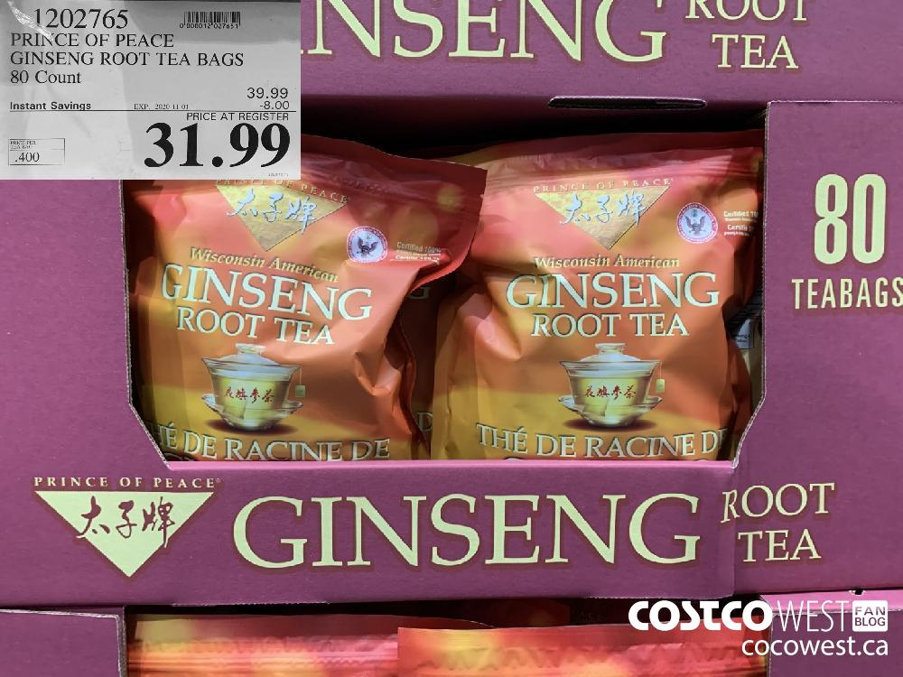 1202765 PRINCE OF PEACE GINSENG ROOT TEA BAGS 80 Count EXP. 2020-11-01 31.99