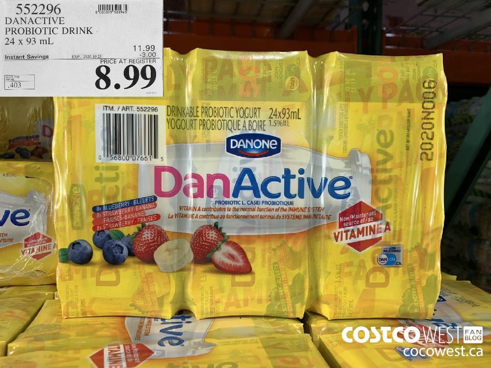 552296 DANACTIVE PROBIOTIC DRINK 24 x 93 mL EXP. 2020-10-25 8.99