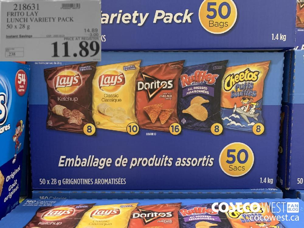 218631 FRITO LAY LUNCH VARIETY PACK 50 x 28 g EXP. 2020-10-25 11.89