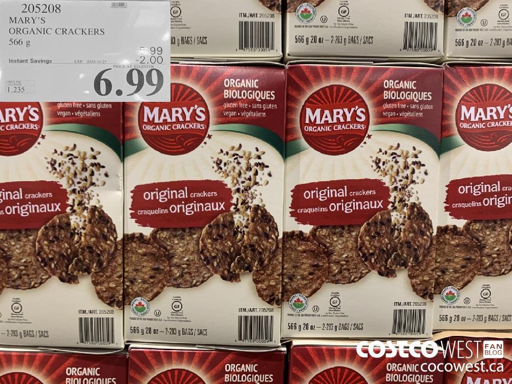 205208 MARY'S ORGANIC CRACKERS 566 g EXP. 2020-10-25 6.99
