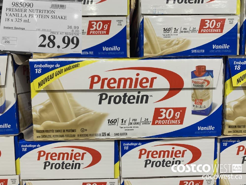 985090 PREMIER NUTRITION VANILLA PROTEIN SHAKE 18 x 325 mL EXP. 2020-10-25 28.99
