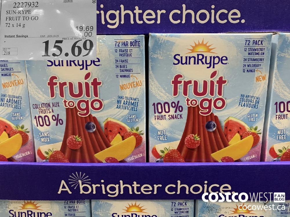 2227932 SUN-RYPE FRUIT TO GO EXP. 2020-10-25 15.69