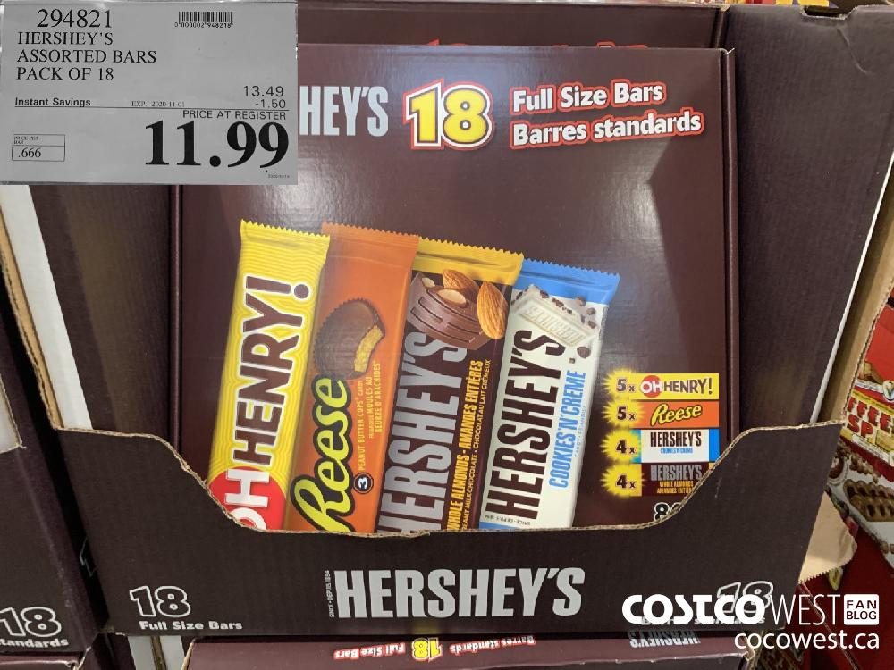 294821 HERSHEY'S ASSORTED BARS PACK OF 18 EXP. 2020-11-01 11.99