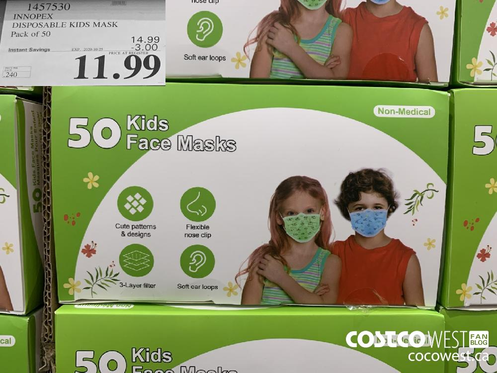 1457530: INNOPEX DISPOSABLE KIDS MASK Pack of 50 EXP. 2020-10-25 $11.99