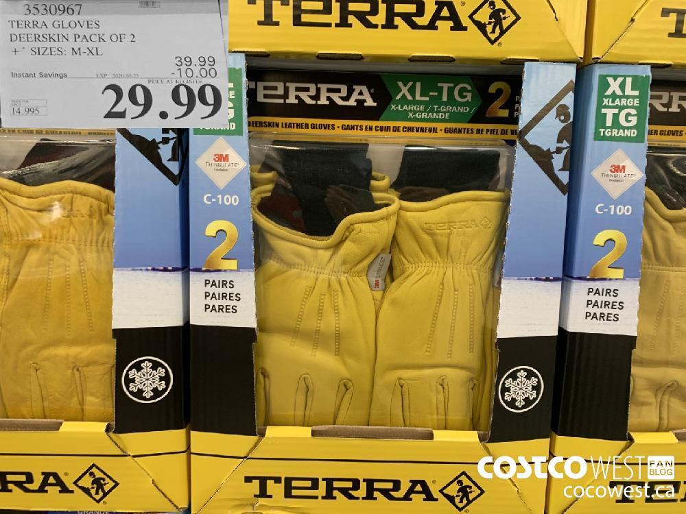 3530967 TERRA GLOVES DEERSKIN PACK OF 2 * SIZES: M-XL EXP. 2020-10-25 $29.99