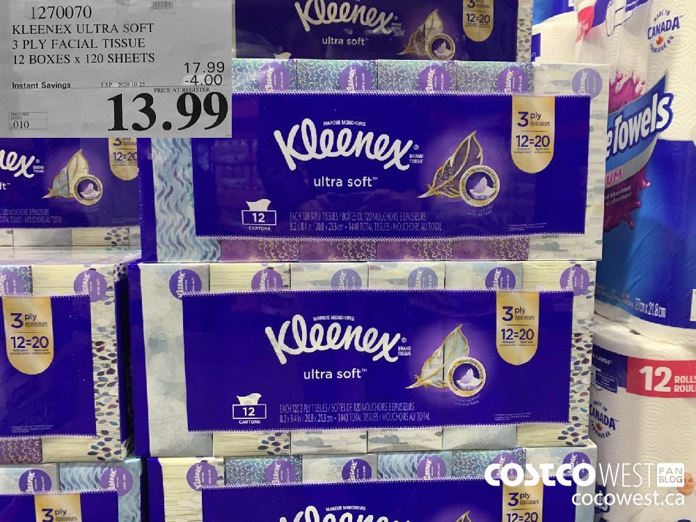 1270070 KLEENEX ULTRA SOFT 3 PLY FACIAL TISSUE 12 BOXES x 120 SHEETS EXP. 2020-10-25 $13.99