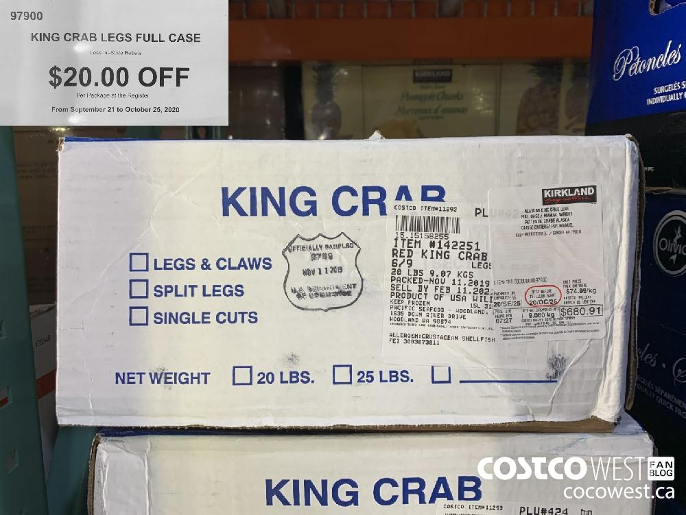 97900 KING CRAB LEGS FULL CASE $20. 00 OFF Per Package at the Register From September 21 to October 25 2020