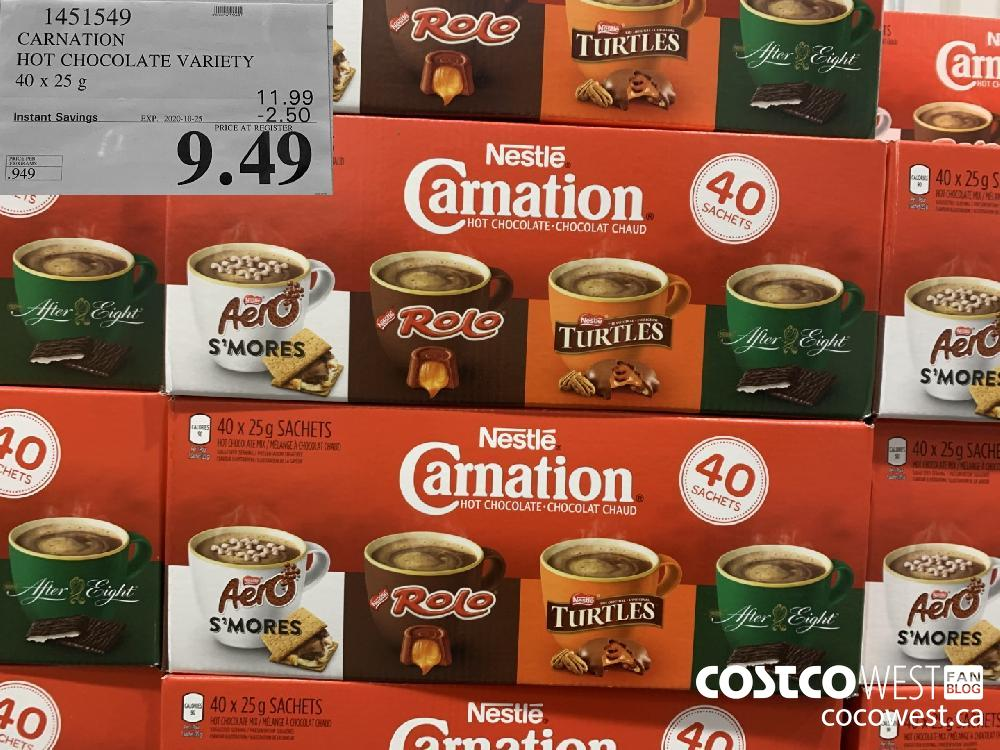 1451549 CARNATION HOT CHOCOLATE VARIETY 40 x 25 g EXP. 2020-10-25 $9.49