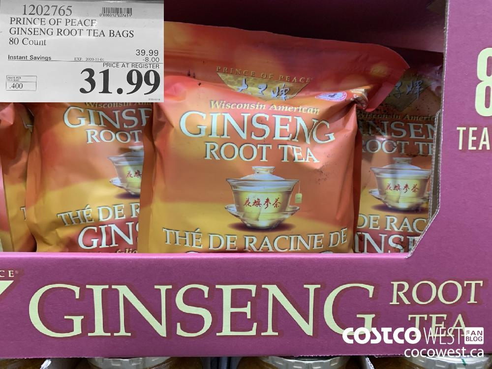 1202765 PRINCE OF PEACE GINSENG ROOT TEA BAGS 80 Count EXP. 2020-11-01 $31.99