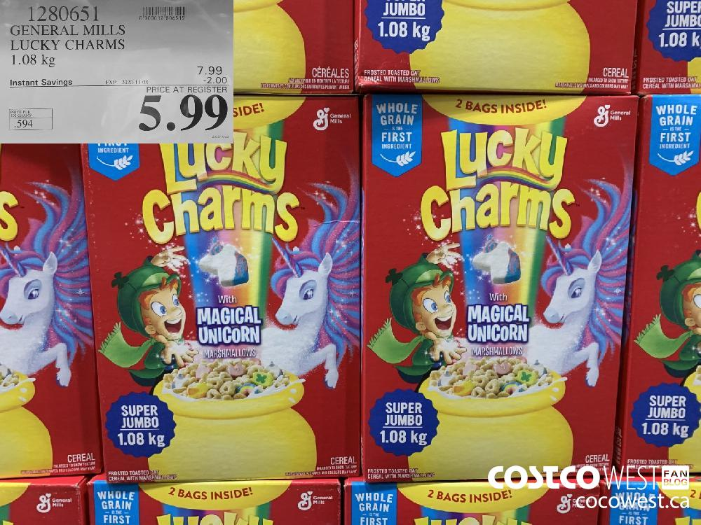 1280651 GENERAL MILLS LUCKY CHARMS 1.08 kg EXP. 2020-11-08 $5.99