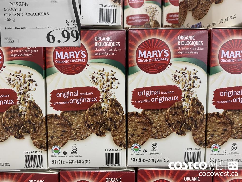 205208 MARY'S ORGANIC CRACKERS 566 g EXP. 2020-10-29 $6.99