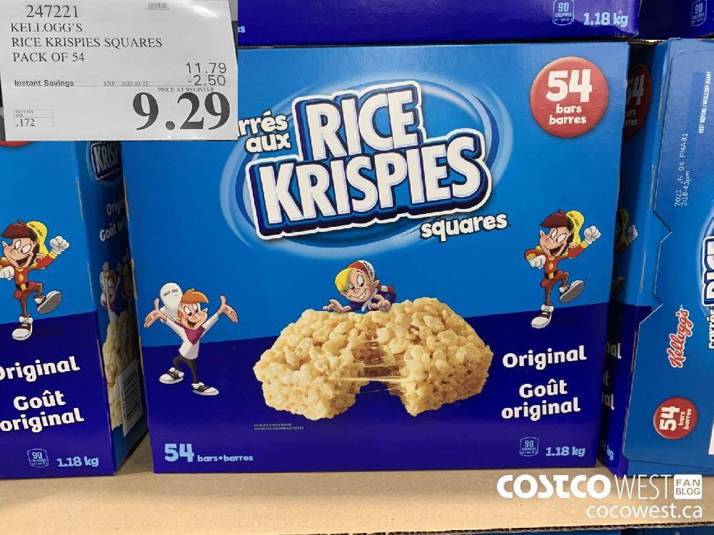 247221 KELLOGG'S RICE KRISPIES SQUARES PACK OF 54 EXP. 2020-10-25 $9.29