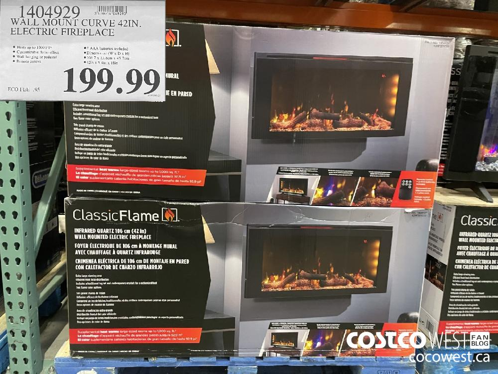 1404929 WALL MOUNT CURVE 42 IN. ELECTRIC FIREPLACE $199.99