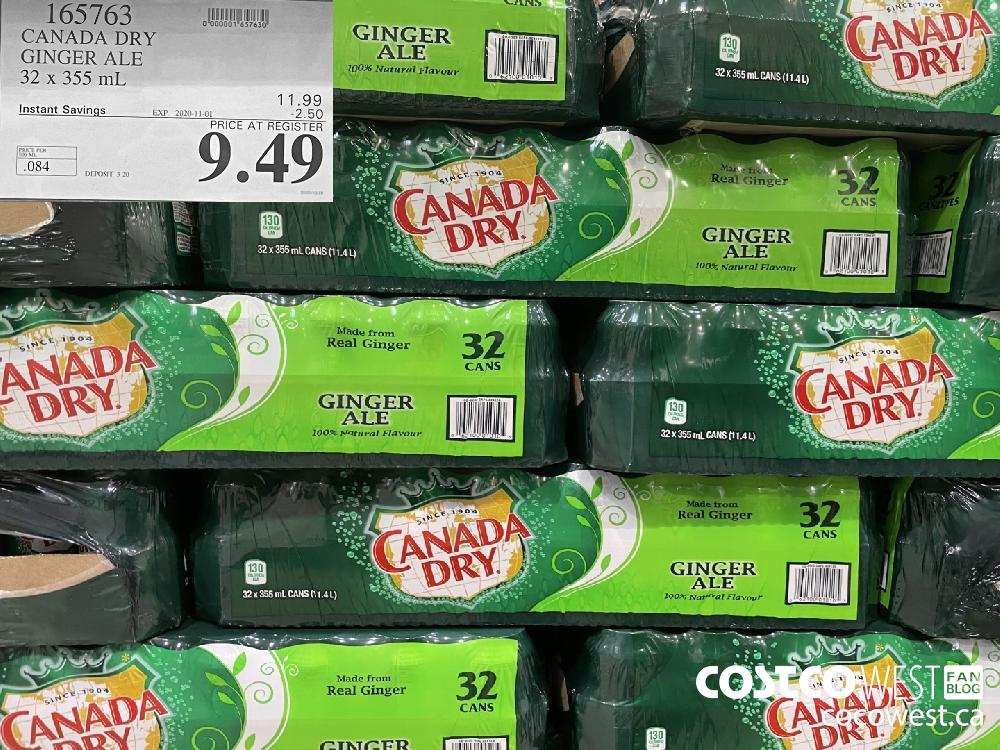 165763 CANADA DRY GINGER ALE 32 x 355 mL EXP. 2020-11-01 $9.49
