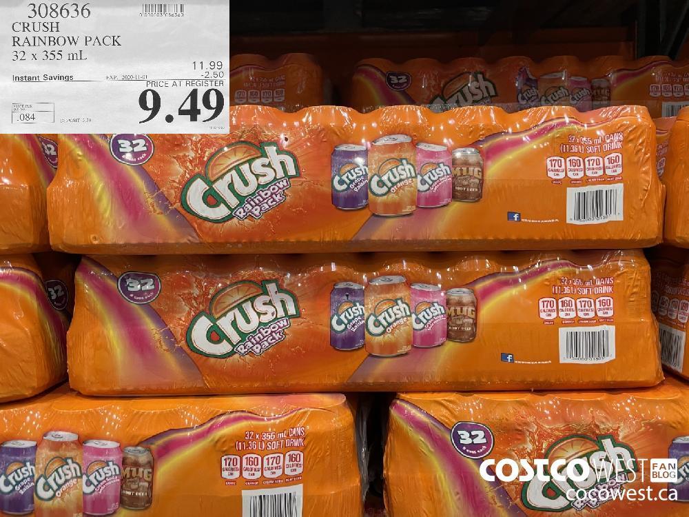 308636 CRUSH RAINBOW PACK 32 x 355 mL EXP. 2020-11-01 $9.49