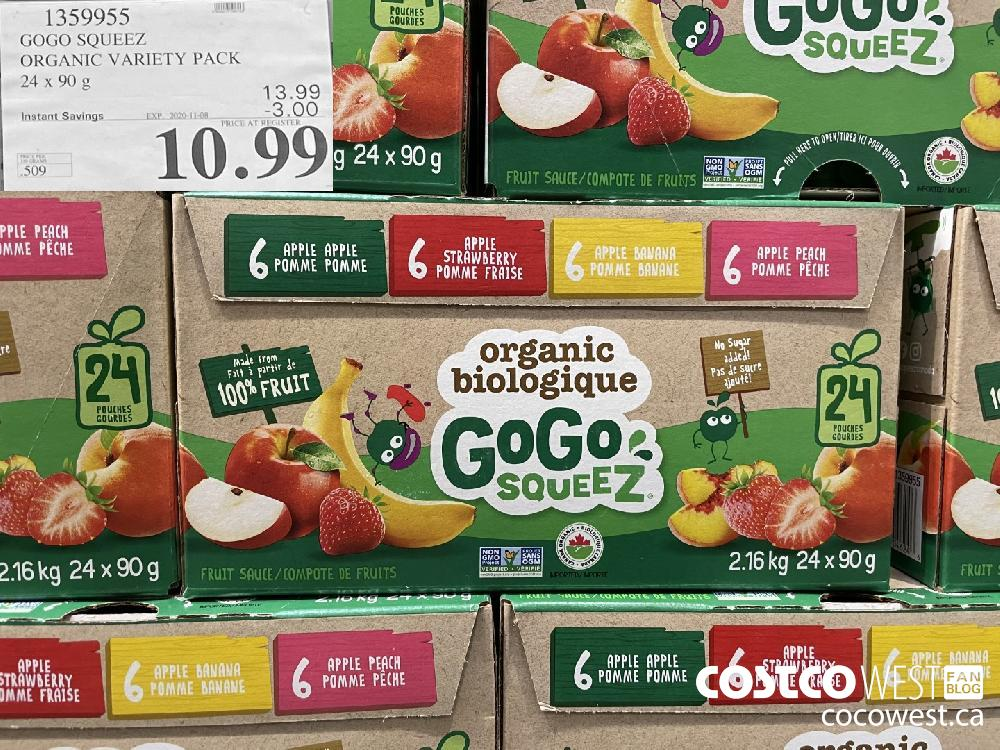 1359955 GOGO SQUEEZ ORGANIC VARIETY PACK 24 x 90 g EXP. 2020-11-08 $10.99