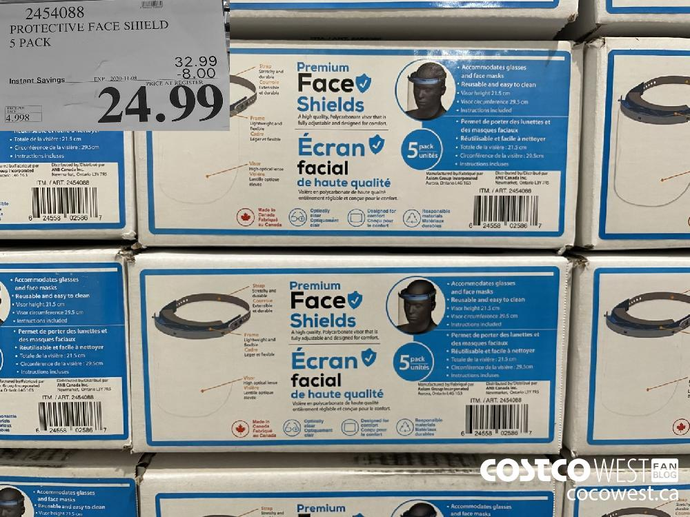 2454088 PROTECTIVE FACE SHIELD 5 PACK EXP. 2020-11-08 $24.99
