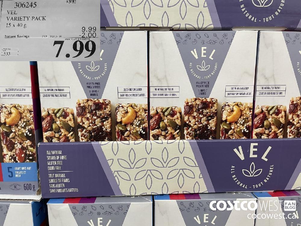 306245 VEL VARIETY PACK 15 x 40 g EXP. 2020-11-08 $7.99