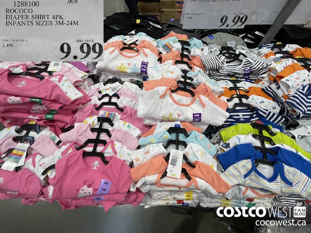 1288100 ROCOCO DIAPER SHIRT 4PK INFANTS SIZES 3M-24M $9.99