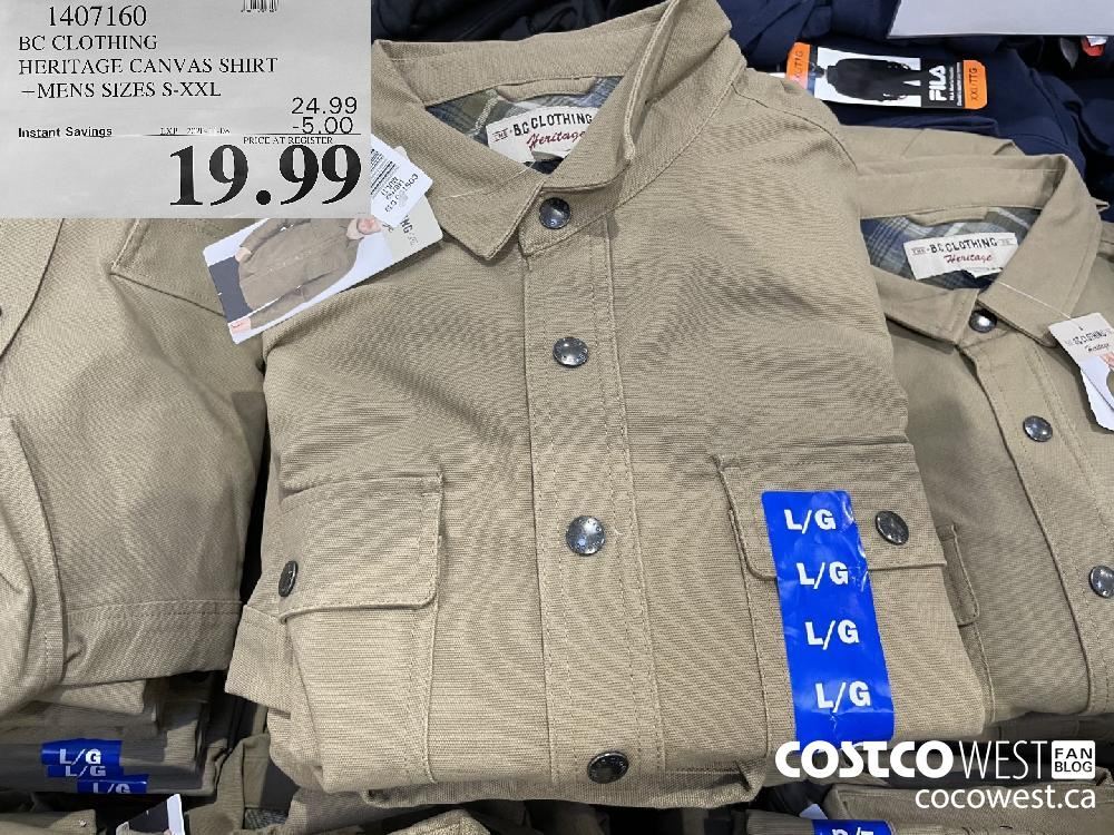 1407160 BC CLOTHING HERITAGE CANVAS SHIRT MENS SIZES S-XXL EXP. 2020-11-08 $19.99