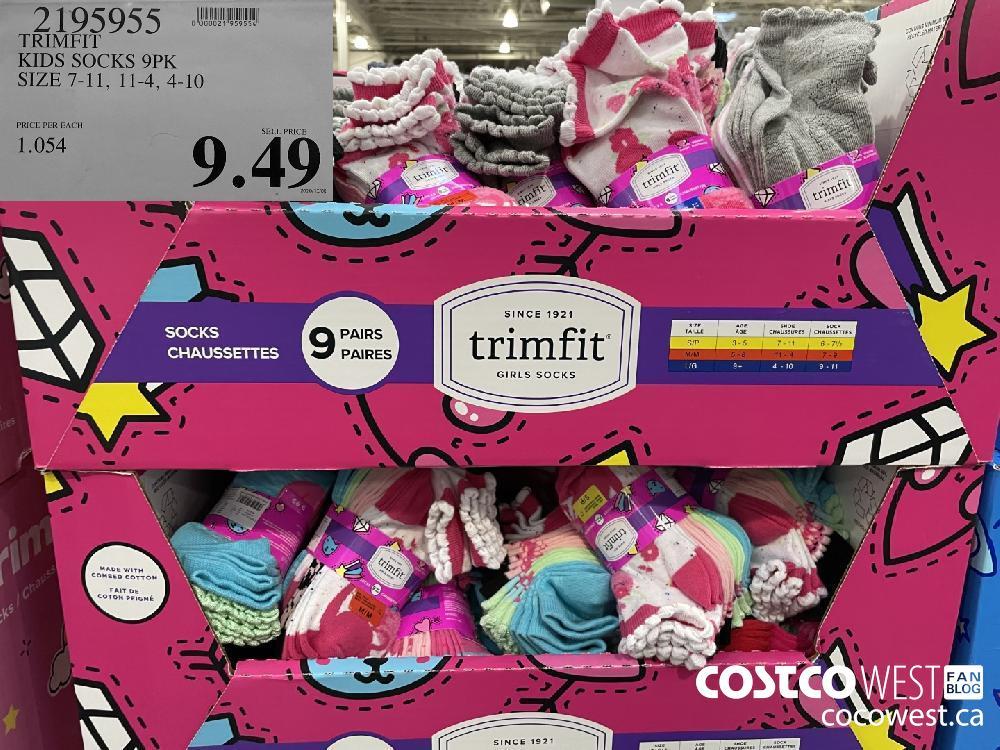 2195955 TRIMFIT KIDS SOCKS 9PK SIZE 7-11 11-4 4-10 $9.49