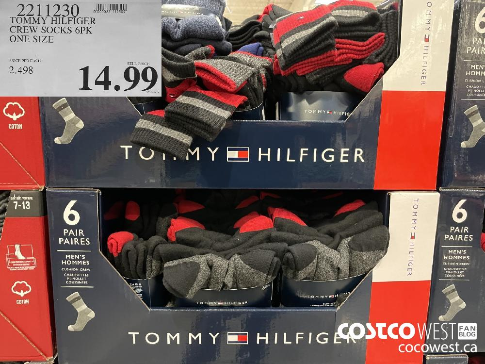 2211230 TOMMY HILFIGER CREW SOCKS 6PK ONE SIZE $14.99