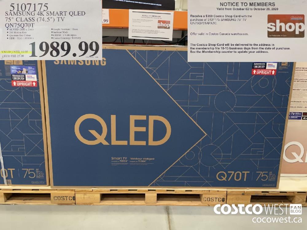"5107175 SAMSUNG 4K SMART QLED 75"" CLASS (74.5"") TV QN75Q70T $1989.99"