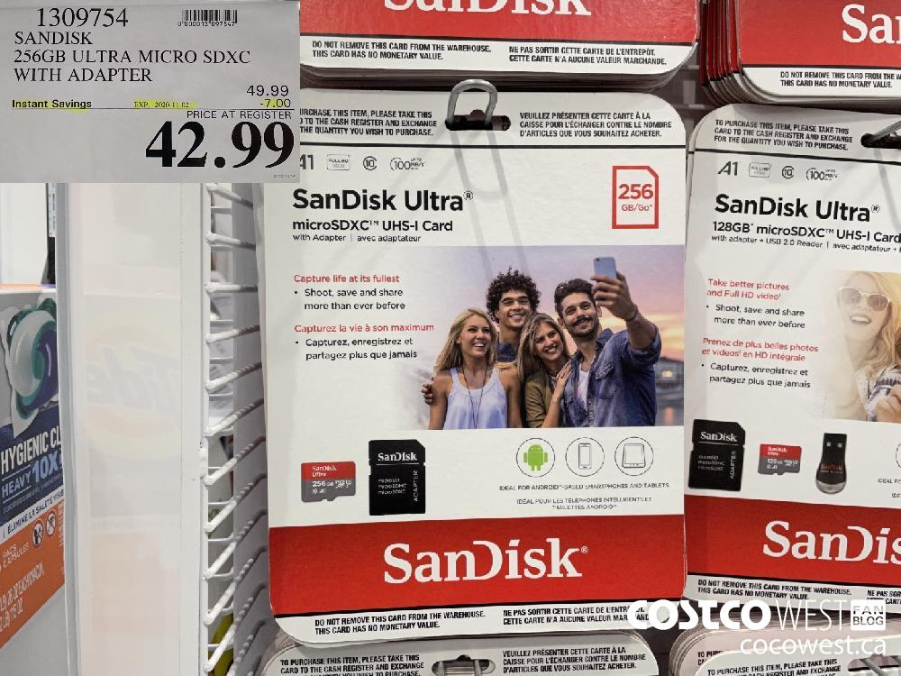 1309754 SANDISK 256GB ULTRA MICRO SDXC WITH ADAPTER EXP. 2020-11-02 $42.99