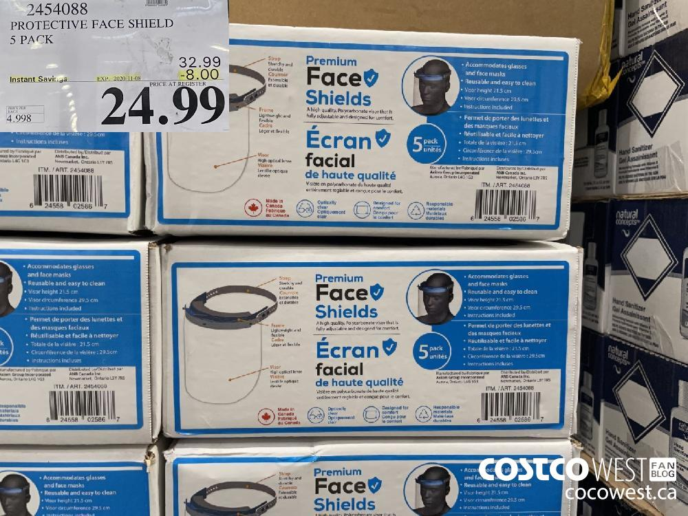 454088 PROTECTIVE FACE SHIELD 5 PACK EXP. 2020-11-08 $24.99