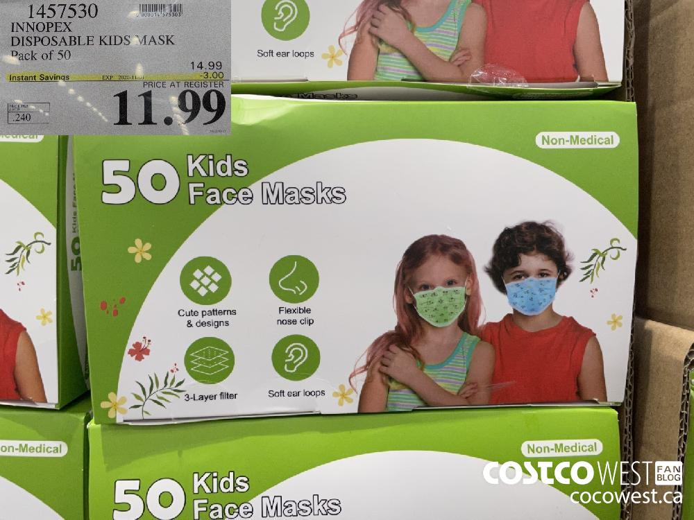 1457530 INNOPEX DISPOSABLE KIDS MASK Pack of 50 EXP. 2020-11-01 $11.99