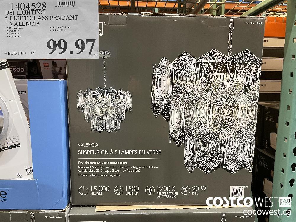 1404528 DSI LIGHTING 5 LIGHT GLASS PENDANT VALENCIA $99.97