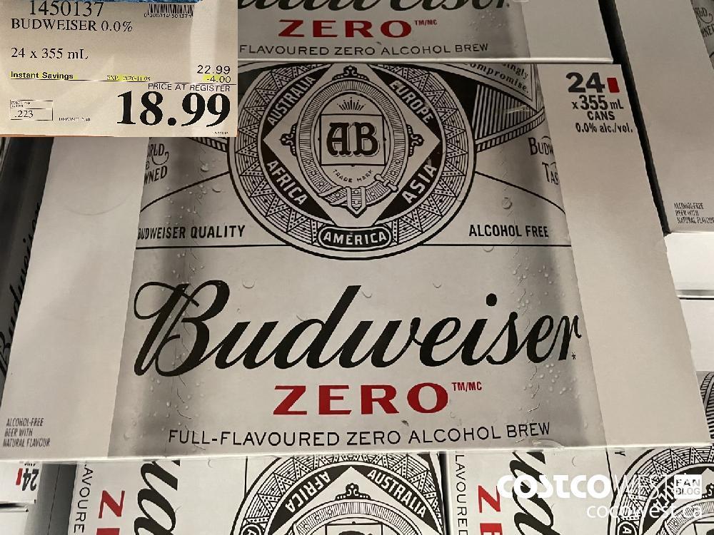 1450137 BUDWEISER 0.0% 24 x 355 mL EXP. 2020-11-08 $18.99