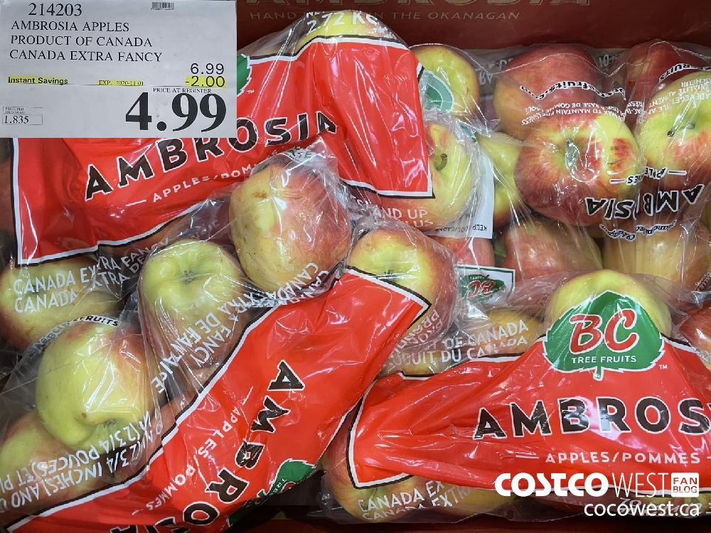 214203 AMBROSIA APPLES PRODUCT OF CANADA CANADA EXTRA FANCY EXP. 2020-11-01 $4.99