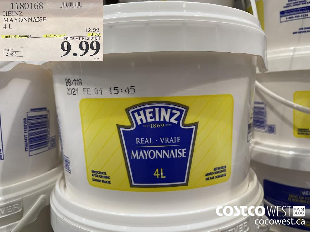 1180168 HEINZ MAYONNAISE 4 L EXP. 2020-11-15 $9.99