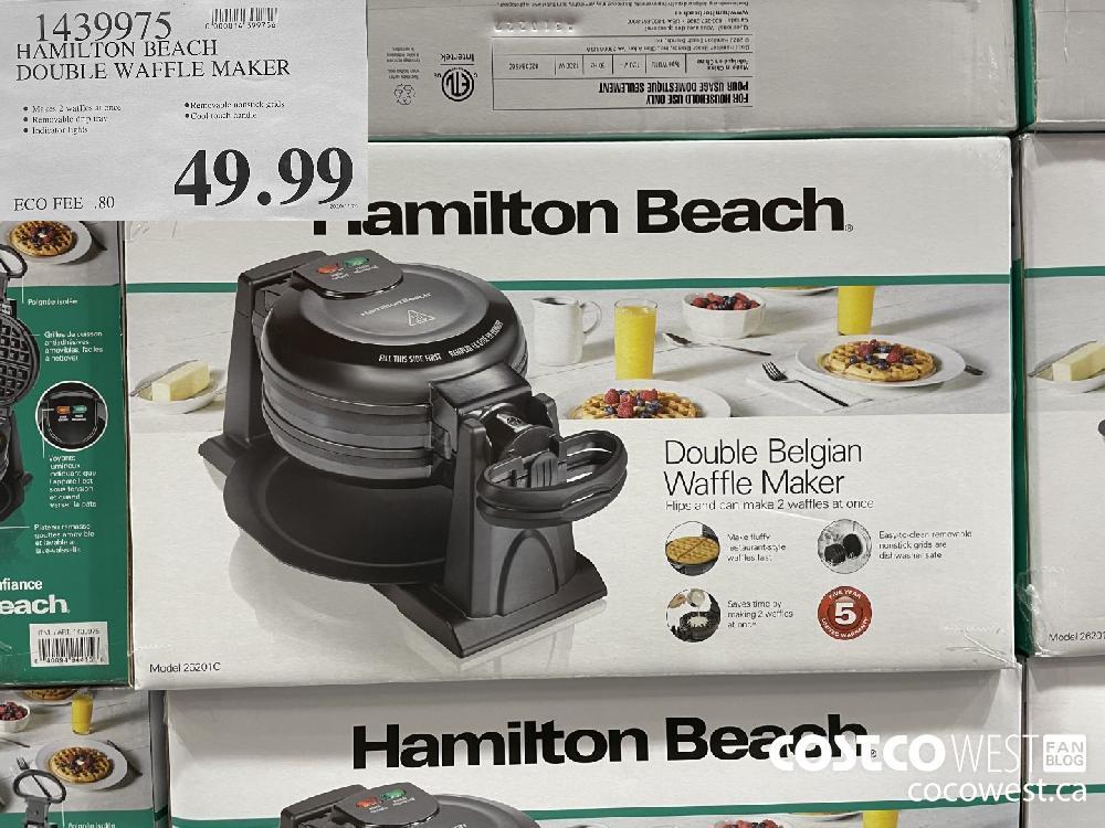 1439975 HAMILTON BEACH DOUBLE WAFFLE MAKER $49.99
