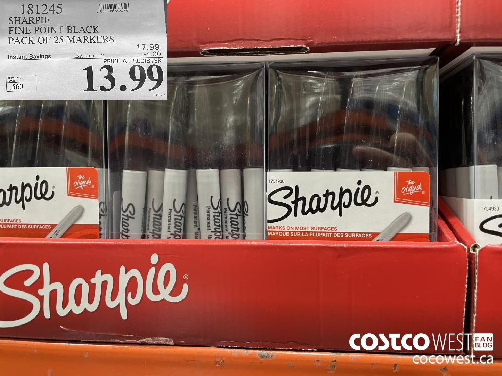 181245 SHARPIE FINE POINT BLACK PACK OF 25 MARKERS EXP. 2020-11-08 $13.99