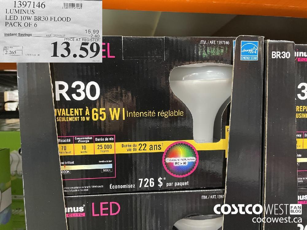 1397146 LUMINUS LED 10W BR30 FLOOD PACK OF 6 EXP. 2020-11-27 $13.59